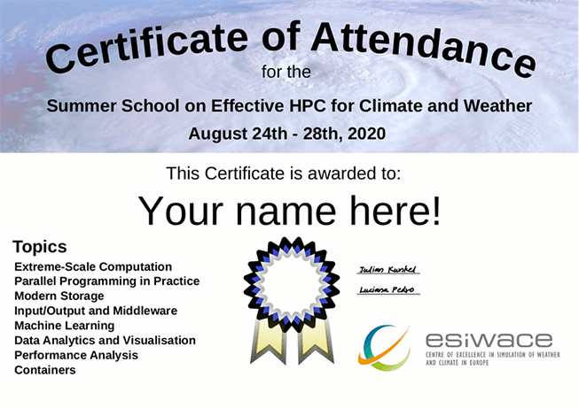 Summer School on Effective HPC for Climate and Weather